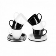 Šešių puodelių su lėkštutėmis rinkinys Luminarc CARINE NOIR & BLANC, 220 ml