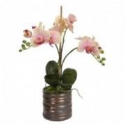 Dekoratyvinė dirbtinė trijų šakų orchidėja vazone Shishi, 40 cm