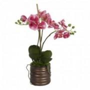 Dekoratyvinė dirbtinė trijų šakų rožinė orchidėja vazone Shishi, 40 cm
