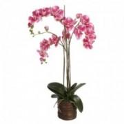 Dekoratyvinė dirbtinė trijų šakų rožinė orchidėja rudame vazone Shishi, 90 cm