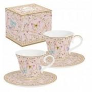 Dviejų porcelianinių puodelių rinkinys Easy Life MAJESTIC BUTTERFLIES, 80 ml
