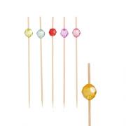 Smeigtukai iš bambuko su dekoracija PapStar PEARL, 12 cm, 100 vnt. *