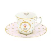 Porcelianinis puodelis su lėkštute Easy Life DOTS & CUPCAKES, 200 ml