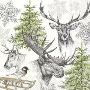 Kalėdinės servetėlės WINTER WILDLIFE, 33x33 cm