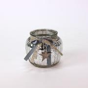 Sidabrinės spalvos žvakidė su medine žvaigžde Werner Voss, 10x11 cm