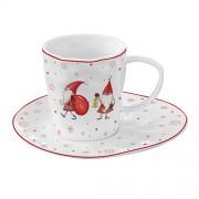 Porcelianinis puodelis su lėkštute dovanų dėžutėje Easy Life CHRISTMAS GNOMES, 250 ml