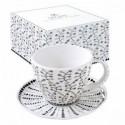 Baltas porcelianinis puodelis su lėkštute ir ornamentais Easy Life ORGANIC ORG1, 280 ml