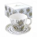Baltas porcelianinis puodelis su lėkštute ir ornamentais Easy Life ORGANIC ORG5, 280 ml