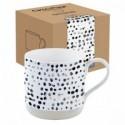 Baltas porcelianinis puodelis su juodais taškuotais ornamentais Easy Life CAMOUFLAGE, 375 ml