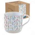 Baltas porcelianinis puodelis dekoruotas margais ornamentais Easy Life CAMOUFLAGE, 375 ml
