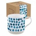 Baltas porcelianinis puodelis dekoruotas mėlynais grafiniais ornamentais Easy Life CAMOUFLAGE, 375 ml